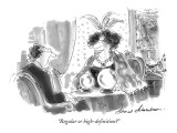 """Regular or high-definition?"" - New Yorker Cartoon Premium Giclee Print by Bernard Schoenbaum"
