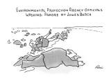 Environmental Prodection Agency Officials Washing Ashore At Jones Beach - New Yorker Cartoon Premium Giclee Print by J.P. Rini