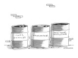 "Three garbage cans, one labeled ""Cans, Bottles,"" the second ""Newspapers,"" … - New Yorker Cartoon Premium Giclee Print by Mick Stevens"