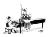 Women in operatic Viking costume sits atop piano singing; piano player is … - New Yorker Cartoon Premium Giclee Print by Warren Miller