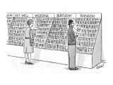 In store aisle, scruffy, dangerous-looking man examines card in 'Ransom' s… - New Yorker Cartoon Premium Giclee Print by Tom Cheney
