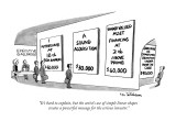 """""""It's hard to explain, but the artist's use of simple linear shapes create…"""" - New Yorker Cartoon Premium Giclee Print by Eric Teitelbaum"""