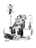 "Man sits reading ""People,"" bird reads, ""Birds,"" cat on chair reads, ""Cats.… - New Yorker Cartoon Premium Giclee Print by Warren Miller"