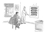 At optometrist's office, Superman's x-ray vision has burned holes in the e… - New Yorker Cartoon Premium Giclee Print by Danny Shanahan