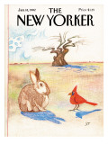 The New Yorker Cover - January 18, 1982 Premium Giclee Print by Saul Steinberg