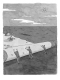 A startled man in a beach chair looks up as a ground crew rolls up the bea… - New Yorker Cartoon Premium Giclee Print by Danny Shanahan