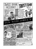 Fun With Money' Parody of Johnson-Smith gag catalogues, showing 'Swiss Ba…' - New Yorker Cartoon Premium Giclee Print by Ruben Bolling