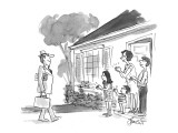 A family at the door, applauds a father as he comes home from work. - New Yorker Cartoon Premium Giclee Print by Edward Frascino