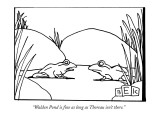 """Walden Pond is fine as long as Thoreau isn't there."" - New Yorker Cartoon Premium Giclee Print by Bruce Eric Kaplan"