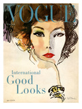 Vogue Cover - March 1958 Premium Giclee Print by René R. Bouché