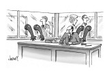 Nasty looking executive at desk surrounded by glass partitions with rubber… - New Yorker Cartoon Premium Giclee Print by Tom Cheney