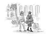 Woman tourist wearing a T-shirt that reads, 'I'm with the Great Satan,' wi… - New Yorker Cartoon Premium Giclee Print by Danny Shanahan