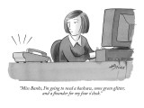 """Miss Banks, I'm going to need a hacksaw, some green glitter, and a flound…"" - New Yorker Cartoon Premium Giclee Print by Harry Bliss"