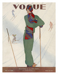 Vogue Cover - December 1928 Premium Giclee Print by Jean Pagès