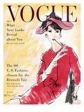 Vogue Cover - April 1958 - Power Suit Regular Giclee Print by René R. Bouché