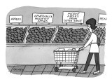 Woman with shopping cart reads signs in produce section: 'Apples,' 'Geneti… - New Yorker Cartoon Premium Giclee Print by Peter C. Vey
