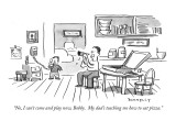 """No, I can't come and play now, Bobby.  My dad's teaching me how to eat pi…"" - New Yorker Cartoon Premium Giclee Print by Liza Donnelly"