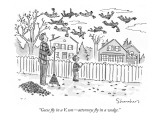 """Geese fly in a V, son—attorneys fly in a wedge."" - New Yorker Cartoon Premium Giclee Print by Danny Shanahan"