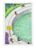 bike lane and poet lane. - Cartoon Premium Giclee Print by John O'brien