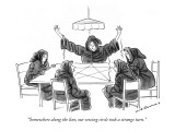 """""""Somewhere along the line, our sewing circle took a strange turn."""" - New Yorker Cartoon Premium Giclee Print by Nick Downes"""