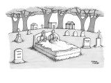 Gravestone with a sculpture of couple in bed reading. - New Yorker Cartoon Premium Giclee Print by Steve Duenes