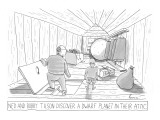 Father and son find dwarf planet in attic. - New Yorker Cartoon Premium Giclee Print by Zachary Kanin