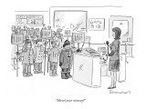 """Shovel your runway?"" - New Yorker Cartoon Premium Giclee Print by Danny Shanahan"