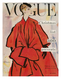 Vogue Cover - November 1953 - Christmas Coat Regular Giclee Print by René R. Bouché