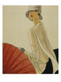Vogue - January 1928 - Red Parasol Premium Giclee Print by Porter Woodruff