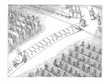 Bride walks down aisle on carpet imprinted with wedding expenses. - New Yorker Cartoon Premium Giclee Print by John O'brien