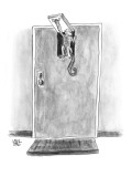 Monkey entering small door at top of large door. - New Yorker Cartoon Premium Giclee Print by John Kane
