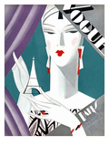 Vogue Cover - October 1926 - Petit Eiffel Tower Regular Giclee Print by Eduardo Garcia Benito