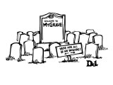 """A large tombstone is marked, """"Welcome to MyGrave.""""  A signpost says 'Here … - New Yorker Cartoon Premium Giclee Print by Drew Dernavich"""