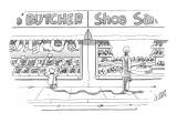 Woman, walking her dog, looks into window of shoe store as her dog looks i… - New Yorker Cartoon Premium Giclee Print by Glen Le Lievre