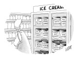 Woman at ice cream freezer looks at various flavors like, 'Got No Man Peca… - New Yorker Cartoon Premium Giclee Print by Glen Le Lievre
