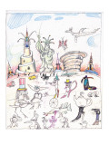 Steinbergian landscape populated with monuments, statues, and walking crea… - New Yorker Cartoon Premium Giclee Print by Saul Steinberg