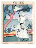Vogue Cover - January 1922 - Dalmation Walk Regular Giclee Print by Helen Dryden