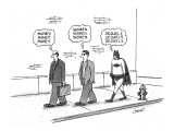 One pedestrian thinking about 'money', followed by another thinking about … - New Yorker Cartoon Premium Giclee Print by Tom Cheney