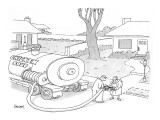 "A tanker truck labeled ""Chicken Soup"" dispenses a cup full to a man in fro… - New Yorker Cartoon Premium Giclee Print by Jack Ziegler"