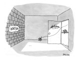 Leaf blowing through a door labeled Autumn into a room with a brick wall l… - New Yorker Cartoon Premium Giclee Print by Jack Ziegler