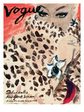 "Vogue Cover - November 1939 - Leopard Love Premium Giclee Print by Carl ""Eric"" Erickson"