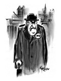 "An executive wears a pin that says ""NO."" - New Yorker Cartoon Premium Giclee Print by Lee Lorenz"