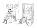 Superman looks at his superhero dog with cape who stares out window waitin… - New Yorker Cartoon Premium Giclee Print by Danny Shanahan