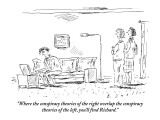 """""""Where the conspiracy theories of the right overlap the conspiracy theorie…"""" - New Yorker Cartoon Premium Giclee Print by Barbara Smaller"""