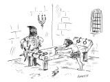 A prisoner is seen stretching on a torture rack next to an anxious looking… - New Yorker Cartoon Premium Giclee Print by David Sipress