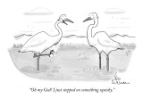 """""""Oh my God! I just stepped on something squishy."""" - New Yorker Cartoon Premium Giclee Print by Leo Cullum"""