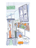 A man is is held up by airport security and the x-rays show him carrying a… - New Yorker Cartoon Premium Giclee Print by Michael Crawford