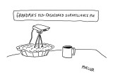 Surveillance camera sticking out of pie. - New Yorker Cartoon Premium Giclee Print by Peter Mueller