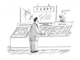 'Good luck with the American health-care system' in the card aisle. - New Yorker Cartoon Premium Giclee Print by Mick Stevens