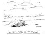 "The Adventures of NormalMan. A man wearing a cape with an ""N"" on it lies f… - New Yorker Cartoon Premium Giclee Print by Mick Stevens"